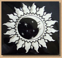 Artisan surfaces produces custom etched and engraved tile such as this Sun-Moon design from one of our talented artisans, Chuck Ellis.